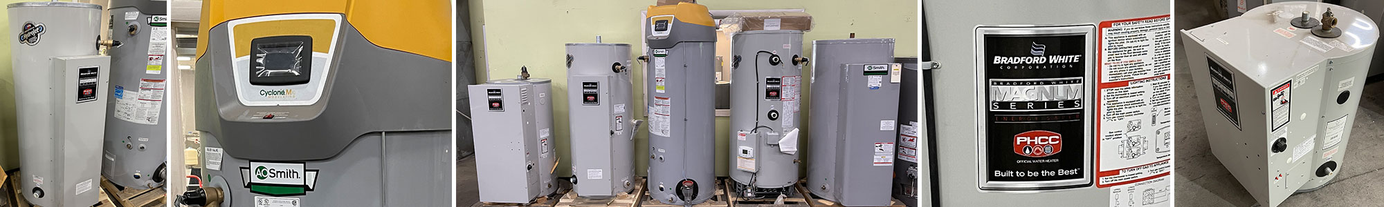 Collage photos of commercial water heaters in the building