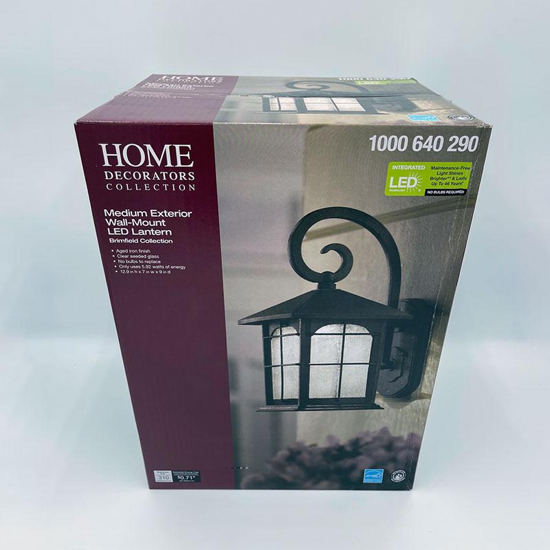 Box of the Home Decorators Collection Medium Exterior Wall Mount Lantern.
